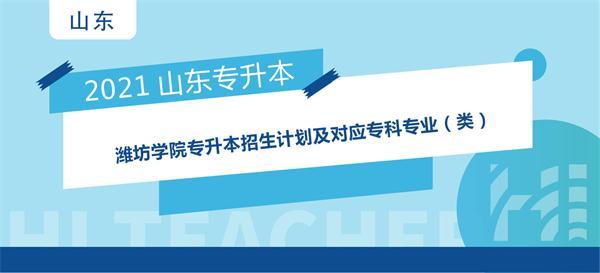 2021年潍坊学院专升本招生计划及对应专科专业(类)